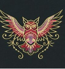 OWL GOLDWORK SET OF 2 BATH HAND TOWELS EMBROIDERED BY LAURA