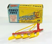 Corgi Toys Four Furrow Plough.Boxed No 56. Diecast Farm Equipment Model