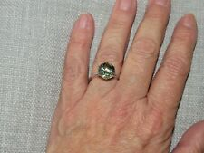 PRASIOLITE LARGE SOLITAIRE RING-SIZE R-3.500CTS-WITH PLATINUM