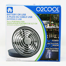 "O2COOL Fan 5"" Portable USB or Batteries Powered 2 Speed Table Fan, Grey NEW"