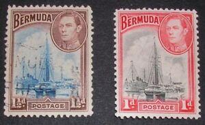 Bermuda 1938 Ships in Hamilton Harbour. 1d MNH, 1.5d fine used