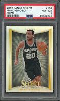 Manu Ginobili Spurs 2012 Panini Select Silver Prizm Basketball Card #109 PSA 8