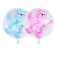 "24"" Double Bubble Bear Boy Girl Balloon Blue Pink New Born Baby Shower Party UK"