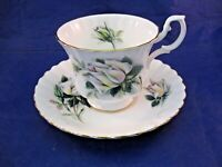 VINTAGE ROYAL ALBERT TEA CUP AND SAUCER - WHITE ROSE DECORATION MADE IN ENGLAND