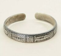 "7.5"", Vtg Taxco Mexican Hopi-style Solid 925 Sterling Silver Cuff Bangle"