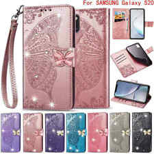 For Samsung Galaxy S20 S10 S9 Bling Diamond butterfly Wallet Leather Stand Case