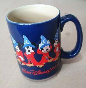 Walt Disney World Fantasia Mickey Mouse Wizard Royal Blue Coffee tea Cup Mug