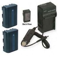 2 Batteries + Charger for Sony NP-FM30 NPFM30 NP-FM50 NPFM50 NP-QM51 NP-QM51D