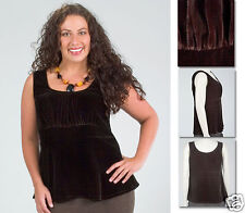 NEW Zaftique CINCHED VELVET TANK Chocolate BROWN 0Z 1Z 14 16 L XL 1X 3X 4X 5X 6X