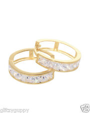 14k Solid Yellow Gold Huggie Earrings 16mm Cubic Zirconia Clear CZ Large Hoops