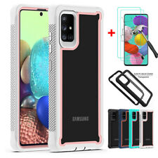 For Samsung Galaxy A20 A20S A51 A71 Case PC+TPU Clear Armor Cover+Tempered Glass