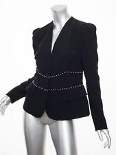 ALEXANDER McQUEEN Womens Black Pearl Trim Long-Sleeve Blazer Jacket 44/8 M