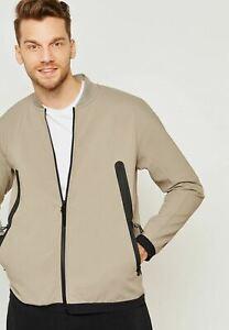 Nike Tech Pack Fleece Tan Woven Track Jacket Full Zip Men's size M MSRP $140.00