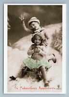 CHRISTMAS Greetings Little Girl Boy sledging Repro Russian Tsarist New Postcard