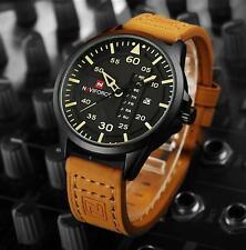 FL:Herren Uhr Quarzuhr Armbanduhr Analog Lederband Sport Datumzeige Gelb 27cm