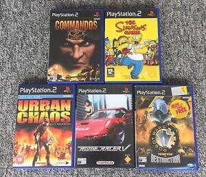PS2 Games Bundle - X5 Simpsons, Ridge Racer, Commandos 2 etc