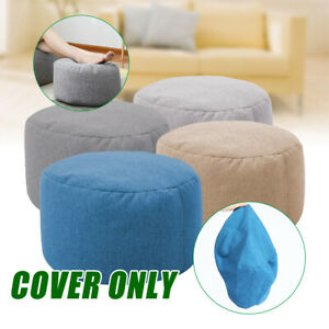 Fabric Ottoman Footstool Foot Stool Rest Pouffe Seat Bean Bag Cover