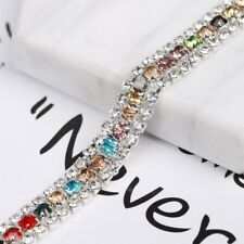 10mm Crystal Rhinestone 3 Rows Belt Chain Sewing Wedding Dress Trims By Bearing