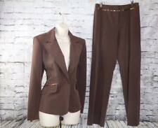 COURTENAY Dark brown 2 piece notched Pant Suit w/ classy sequins sz 8