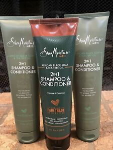3x 10oz Shea Moisture MEN 2 In 1 Shampoo & Conditioner - Built For Men Of Color
