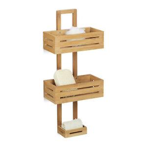 Shower Caddy Bamboo Shower Rack Wall Caddy Bath Bathroom Storage Hanging Holder