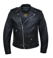 10.ZO Unik Men's Classic Police Style Motorcycle Biker Leather Jacket