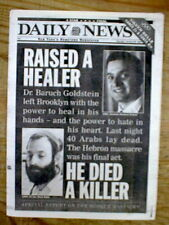 1994 NY Daily News newspaper HEBRON MASSACRE Jewish Doctor murders 40 Arabs