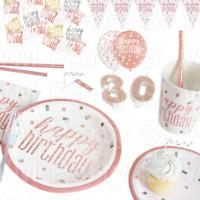 Rose Gold Glitz Happy Birthday Party Tableware Decorations Table Confetti Straws