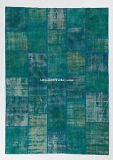 Turquoise Aqua Blue Color PATCHWORK RUG, Handmade from Overdyed Vintage Carpets