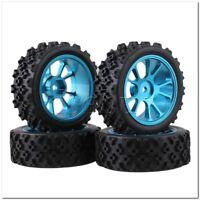4 x RC 1:10 On Road Car Blue Aluminium 10 Spoke Wheel Rim + Flower Rubber Tyre