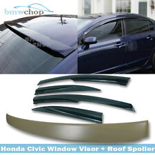 2011 Combo For Honda Civic 8th 4DR Side Visor & Rear Roof  Wing Spoiler