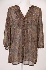 Liz Claiborne Shirt Sz Medium Paisley Brown Button Down Pintuck Floral Top