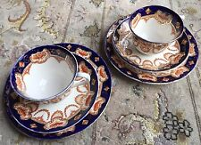 Pair of Antique Art Deco Royal Albert Imari (Pattern 4250) Bone China Trio Sets