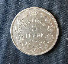 Munt België/Belgique: 5 FRANK (EEN BELGA) 1931 Pos.A (vlaamse legende)