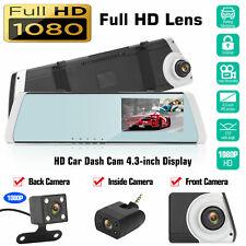 "3 Lens 4.3"" Car DVR Rearview Mirror Camera Dash Cam Video Recorder Night Vision"