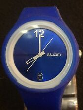 SS.com Ladies Watch Lovely Blue Face Silver Dial 45 Mm Case Blue Rubber Band.