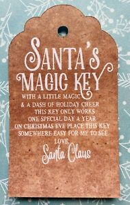 SANTAS MAGIC KEY TAGS  - KRAFT LUGGAGE STYLE - CHRISTMAS EVE - WHITE FONT