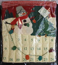 1999 Mitford Snowman Hallmark Advent Hanging Calendar Quilted and Felt