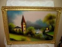 ANTIQUE REVERSE GLASS PAINTING CHURCH LAKE MOP OLD WAVY GLASS NOT CONVEX 1915