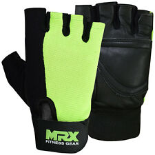 Weight Lifting Gloves Fitness Exercise Gym Training Glove Leather Green Black, S