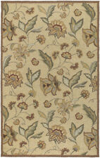8x10 Surya Hooked Beige Outdoor Floral 1011 Area Rug - Approx 8' x 10'