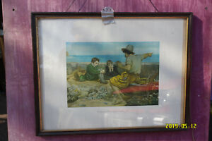 Print of a Painting by Sir J.E. Millais R.A. 1870 - 'The Boyhood of Raleigh'.