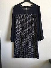 EnFocus Studio Polyester Navy Geometric Print Sheer Mesh Dress Women's Size 10