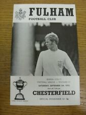 05/09/1970 Fulham v Chesterfield  (Neat Team Changes). Faults with this item sho