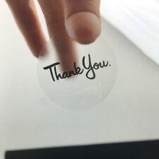 """THANK YOU ENVELOPE Transparent SEALS LABELS STICKERS 1.18"""" Black ROUND 120pcs"""