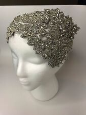 Big Wedding Rhinestone Beads Crystal Silver Crown Headband Handmade Headpiece