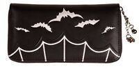 Banned Gothic Bats Faux Leather WALLET Purse Zip Rock Vampire Horror Black WHITE