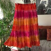 DRESSBARN sz L Orange Pink & Red Tiered Gauzy Peasant Skirt Boho Maxi Tie Dye