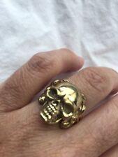 Vintage Tibet Tribal Skull Golden Brass Size 7 Ring