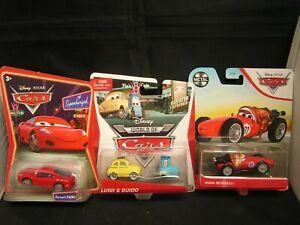 Disney Pixar Cars FERRARI F430 LUIGI Fiat & GUIDO with MAMA BERNOULLI On Cards